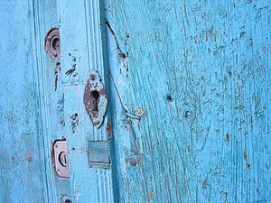 Turquoise door with lock
